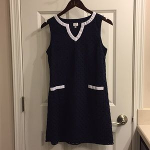 Crown & Ivy navy eyelet sheath dress